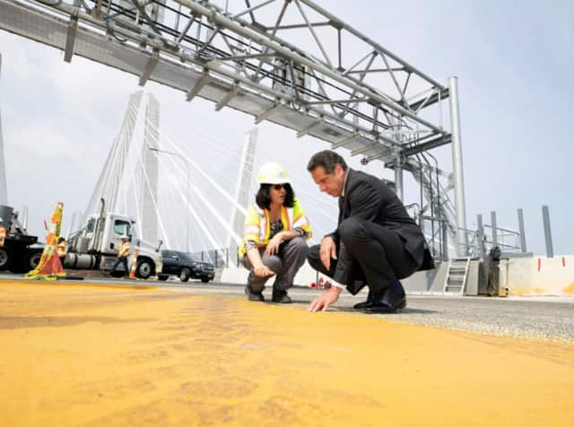 Gov. Andrew Cuomo checks out progress on the new Tappan Zee Bridge before the canceled opening.