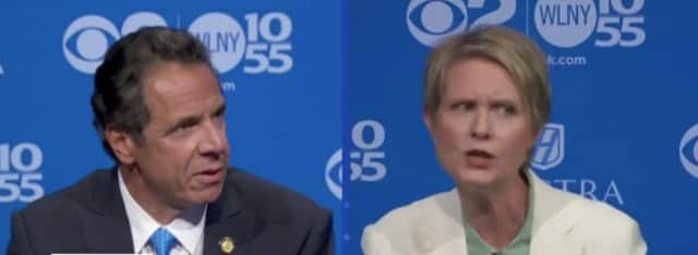 Gov. Andrew Cuomo and Democratic challenger Cynthia Nixon during Wednesday's debate on WCBS-TV.