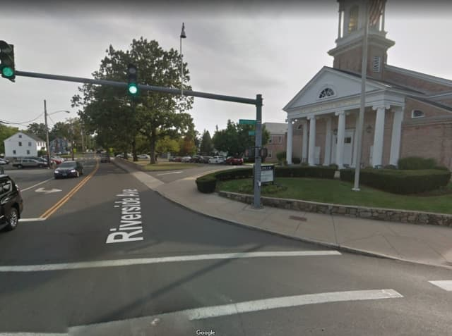 The intersection of East Putnam Avenue and Riverside Avenue in Greenwich.