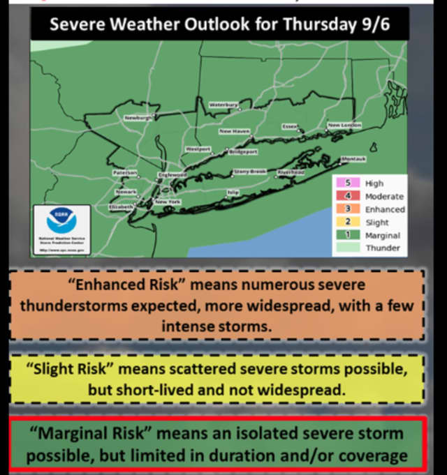 Isolated, severe storms are possible on Thursday.