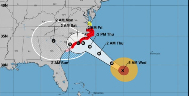 The latest projected path and timing for Florence, released Wednesday morning.