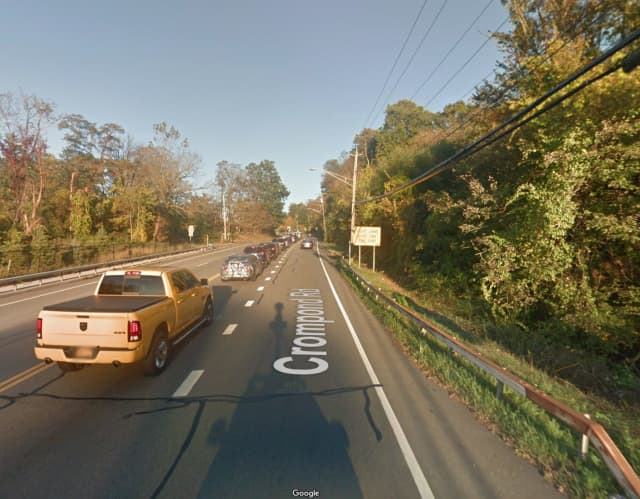 Crompond Road in Yorktown, where the woman struck the guardrail and fell asleep behind the wheel.