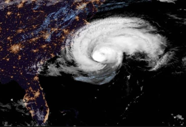 A satellite image of Hurricane Florence.