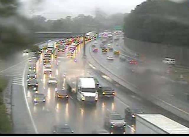 A look at delays on eastbound I-287 (left) in Westchester at 4:45 p.m. Tuesday.