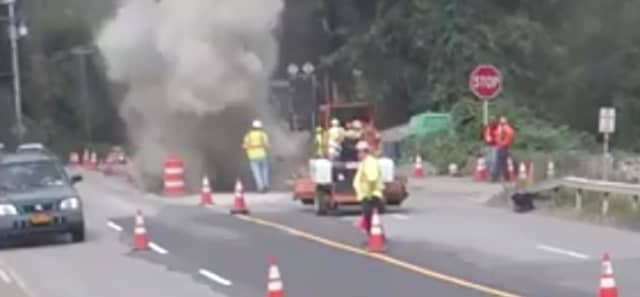 Two construction workers were injured during an explosion at a construction site.