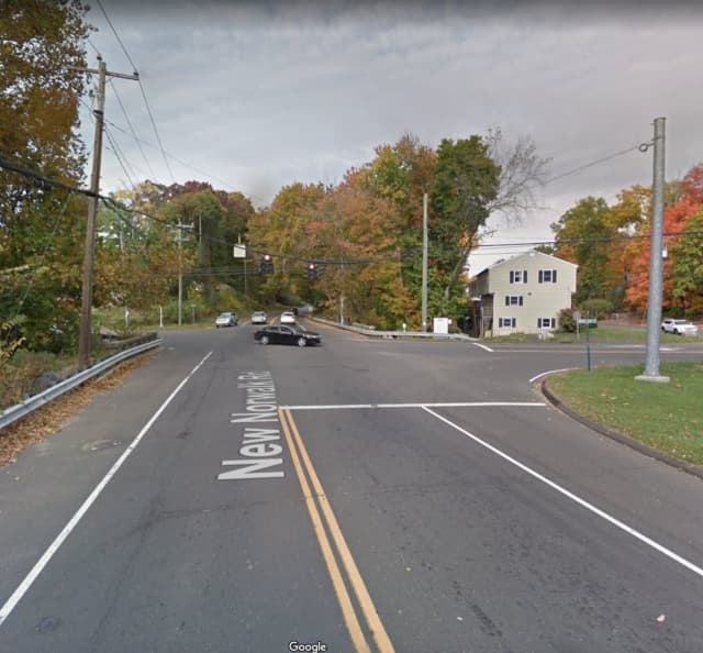 New Norwalk Road near the intersection of Locust Avenue in New Canaan.