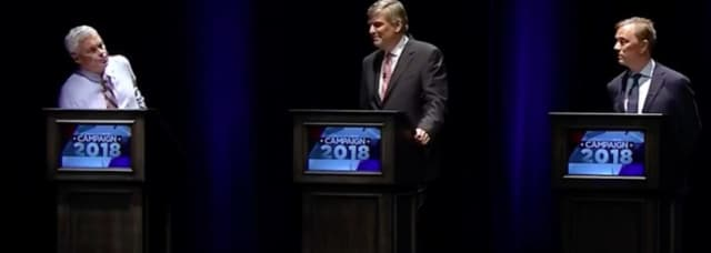 "Gubernatorial candidates, from left to right, Richard ""Oz"" Griebel, Bob Stefanowski and Ned Lamont during the Sept. 26 televised debate at the University of Connecticut campus in Storrs."