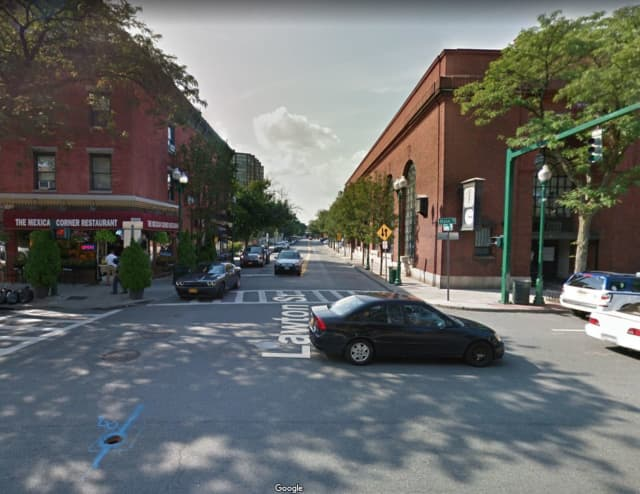 A bicyclist was struck on Lawson Street near the intersection of Main Street in New Rochelle.