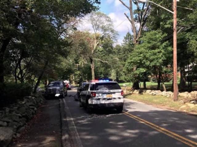 Ramapo Police at the scene on Scotland Hill Road in the Village of Chestnut Ridge on Saturday.