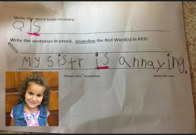 """Alyssa thinks her sister is annoying, but she can also use the word """"is"""" correctly in a sentence."""