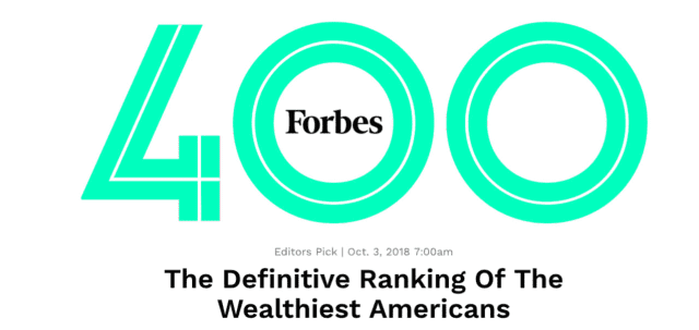 Forbes has released its annual ranking of the wealthiest Americans, which includes several New Jerseyans.