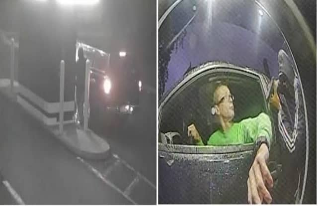 The suspect approaches the car in the drive-thru in photo at left and points a gun at the victim in the photo at right.