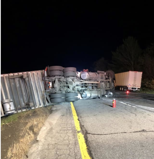 A tractor-trailer crash on I-84 blocked traffic for hours.