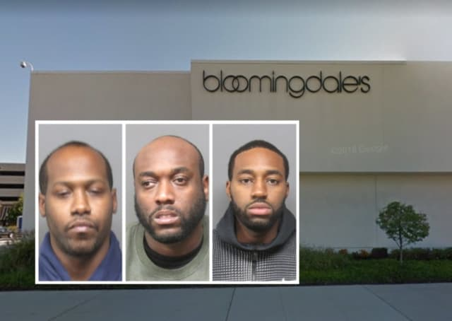 From left: Andrew Parkes, Lernard Lawley and Demetri Stewart were arrested on charges of fraud at Bloomingdales in Hackensack.