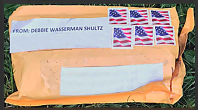 The FBI released this photo of one of the packages sent, which was similar to the others. All the packages bore the return address of former Democratic National Committee Chairperson Rep. Debbie Wasserman Schultz of Florida.