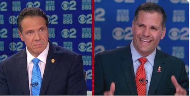 Gov. Andrew Cuomo and Dutchess County Executive Marc Molinaro during their one debate last month on WCBS-TV.