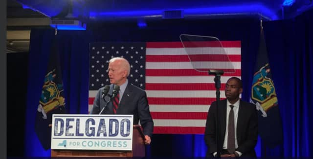 Former Vice President Joe Biden speaking on behalf of now Congressman Antonio Delgado in Kingston prior to the November 2018 election.