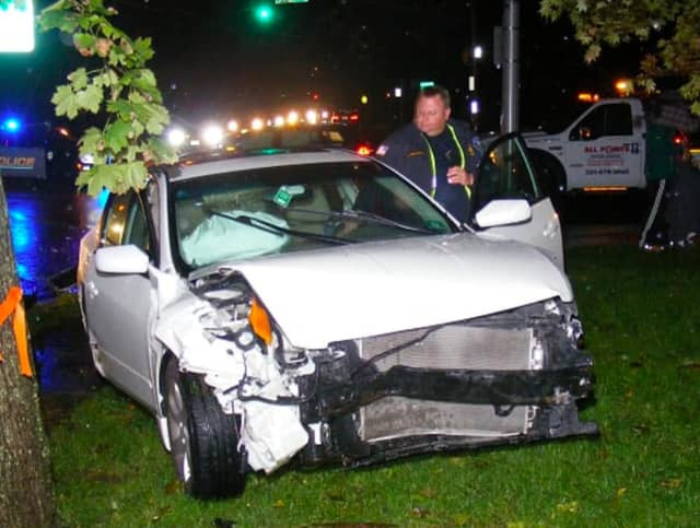 A car wound up on the front lawn of a Glen Rock home following a Saturday evening pileup.