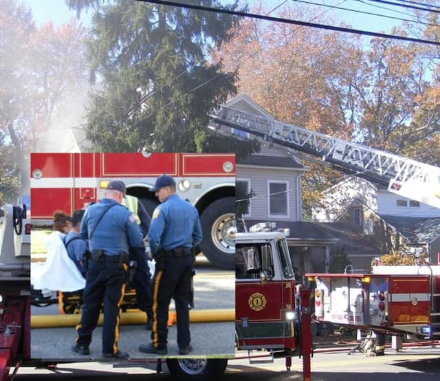 A firefighter was transported to an area hospital after sustaining injuries battling a Waldwick fire.