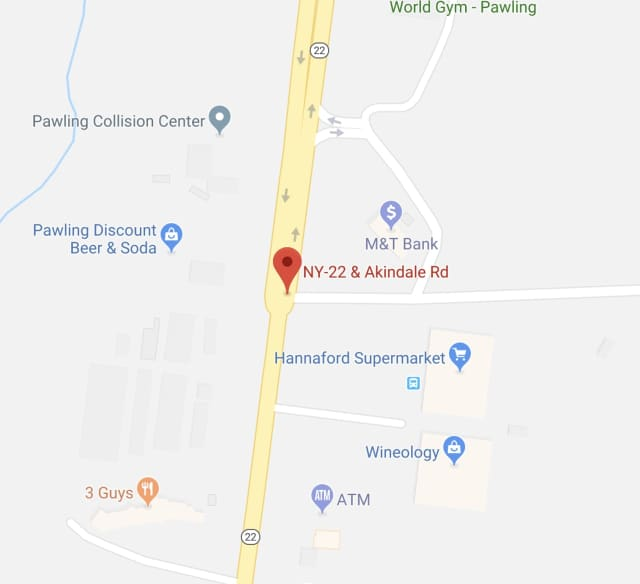 One lane of Route 22 in the Town of Pawling is closed due to a crash.