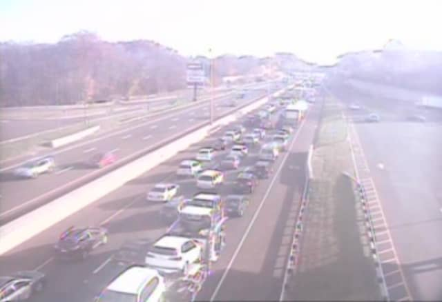 Gridlock at Exit 54 on I-95at 8:15 a.m. Friday following the crash.