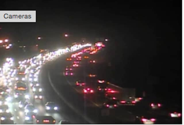 Gridlock on I-95 in Greenwich just before 6 p.m. on Tuesday.