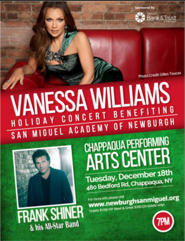 flyer for Vanessa Williams Holiday Benefit Concert for San Miguel Academy of Newburgh