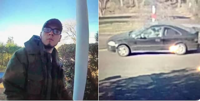 This unidentified person stole a package from the porch of a residence and was driving in the car pictured at right.