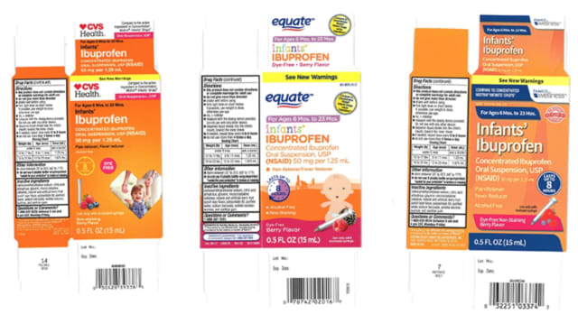 Infant Ibuprofen products have been recalled from CVS, Walmart and Family Dollar.