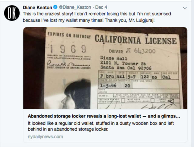 """This is the craziest story!"" Diane Keaton said on Twitter (above). ""I don't remember losing this but I'm not surprised because I've lost my wallet many times! Thank you, Mr. Lulgjuraj!"""