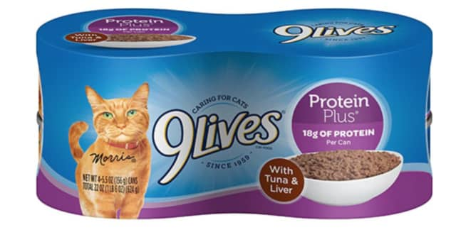 The recalled products include 9Lives Protein Plus With Tuna and Chicken and 9Lives Protein Plus with Tuna and Liver.