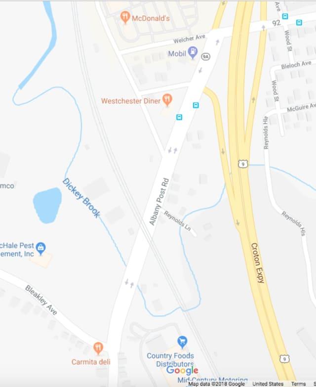 Albany Post Road (Route 9A) in Buchanan between the railroad bridge and Bleakley Avenue near the Peekskill border.