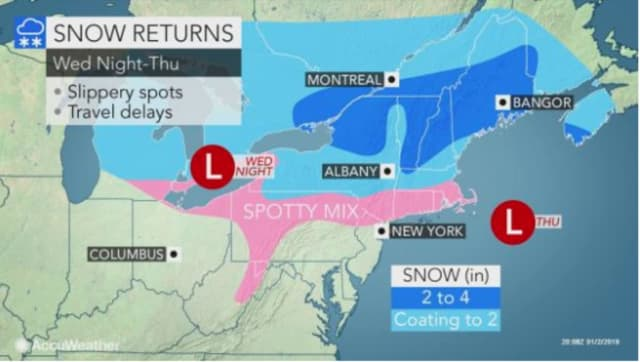 The new round of snow is now expected to arrive late Wednesday night, Jan. 2.