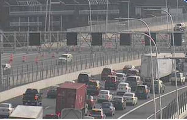 A look at delays on the southbound (Westchester-bound) span on the new Tappan Zee Bridge.
