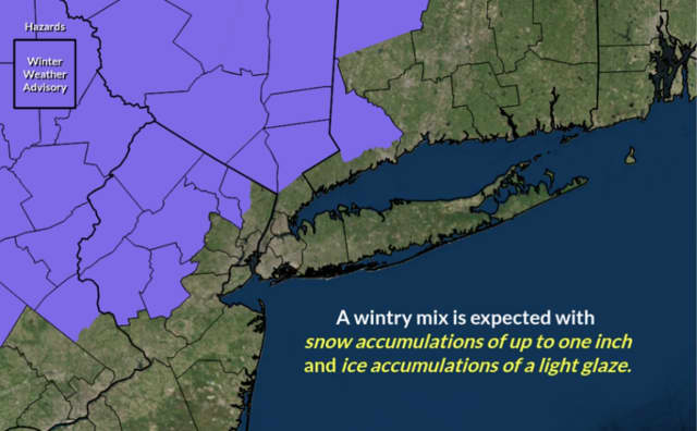 A look at the areas (in purple) where a Winter Weather  Advisory is now in effect.