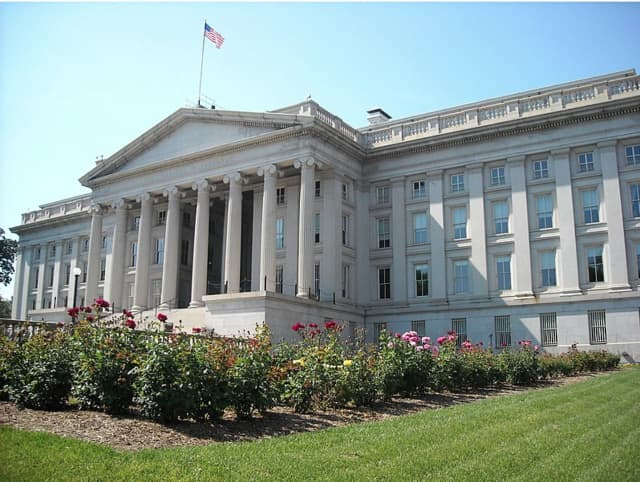The U.S. Treasury Building.
