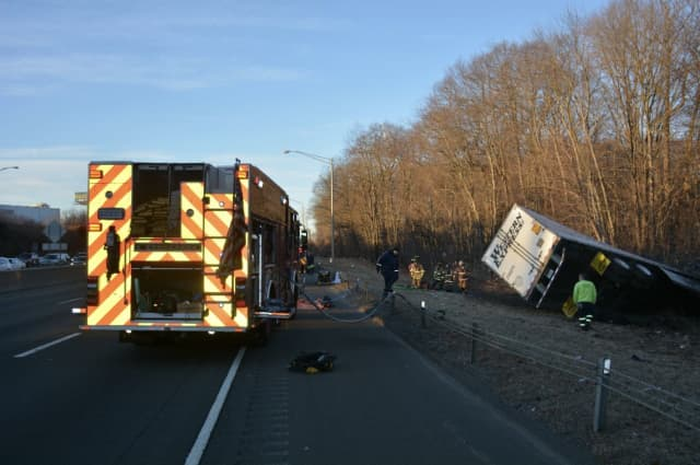 The driver of a tractor-trailer was killed during a crash.