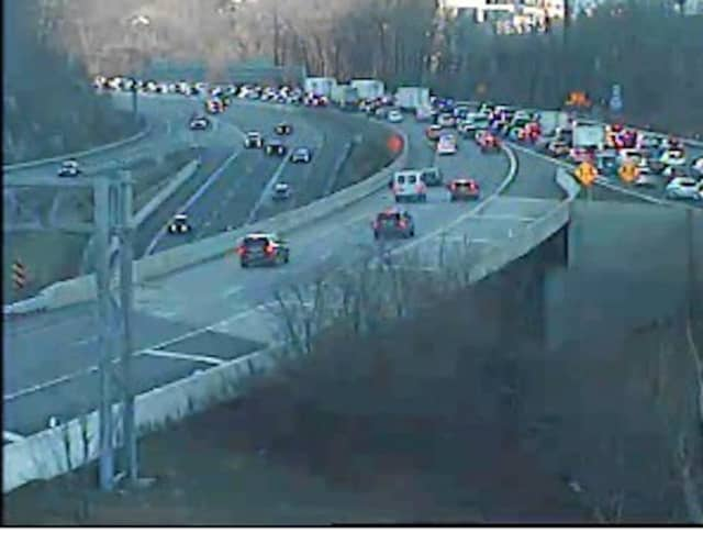 A look at gridlock on northbound (Rockland-bound) I-87 near the new TZB at around 4 p.m. Friday.