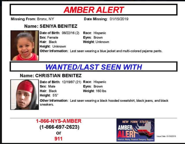Seniya Benitez, who is non-verbal, was kidnapped by her father, 21-year-old Christian Benitez, police say.