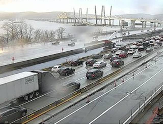 A look at the gridlock on the northbound (Rockland-bound) Tappan Zee Bridge late Thursday afternoon, Jan. 24.