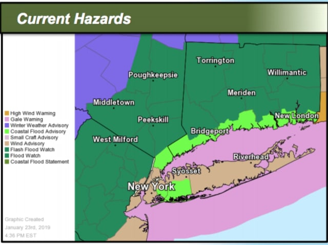 A look at areas where a Coastal Flood Advisory (light green) and Flash Flood Watch (green) are in effect.
