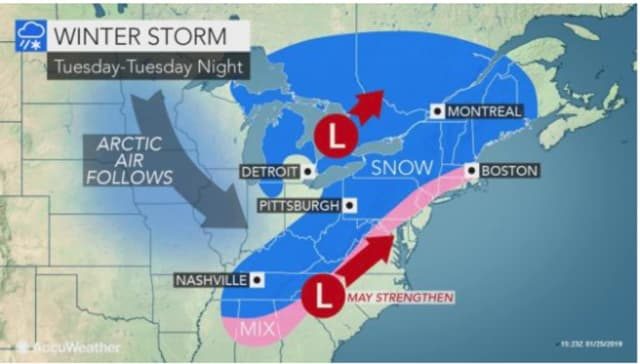 A look at the winter storm system coming on Tuesday, Jan. 29.