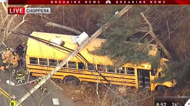 Eight children and one adult were helped off of a bus that crashed into a Long Hill utility pole Monday, toppling live power lines.