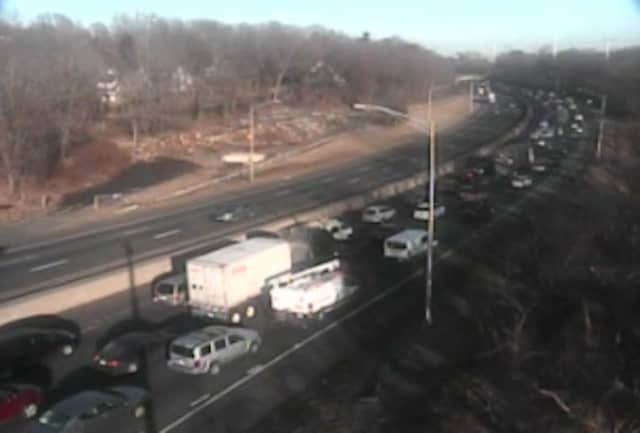 A look at nortbound delays on I-95 in Westport south of Exit 19.