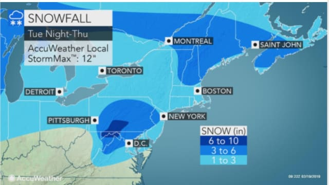 A look at the latest projected snowfall totals.