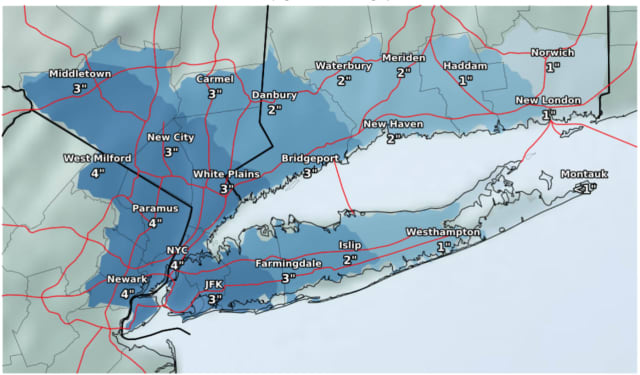 A look at snowfall projections for the storm Wednesday, Feb. 20.