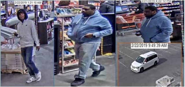 The individuals in the photos above are suspected of stealing merchandise from the Home Depot, and then leaving the area in a white Dodge Caravan minivan.