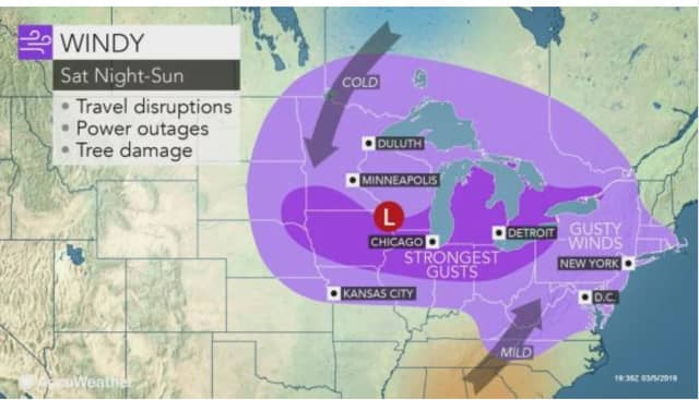The weekend storm will be marked by windy conditions that could cause power outages.