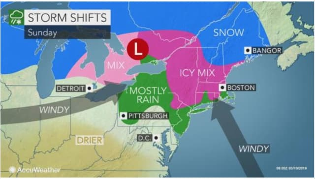 The storm system that brought snow, sleet and rain will move out of the region by midday Sunday, March 10.