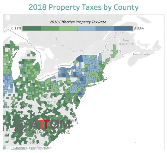 ATTOM Data Solutions released a heat map of the highest property taxes in the country.